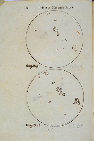 Galileo's drawings of the sunspots