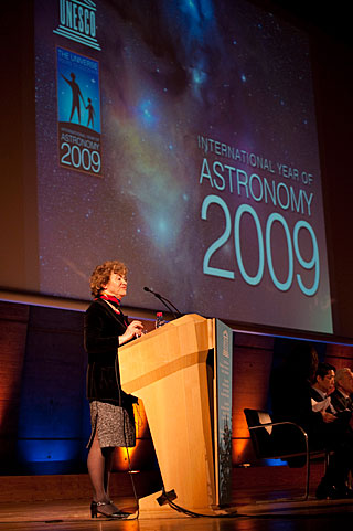IAU President Catherine Cesarsky opening the International Year of Astronomy 2009