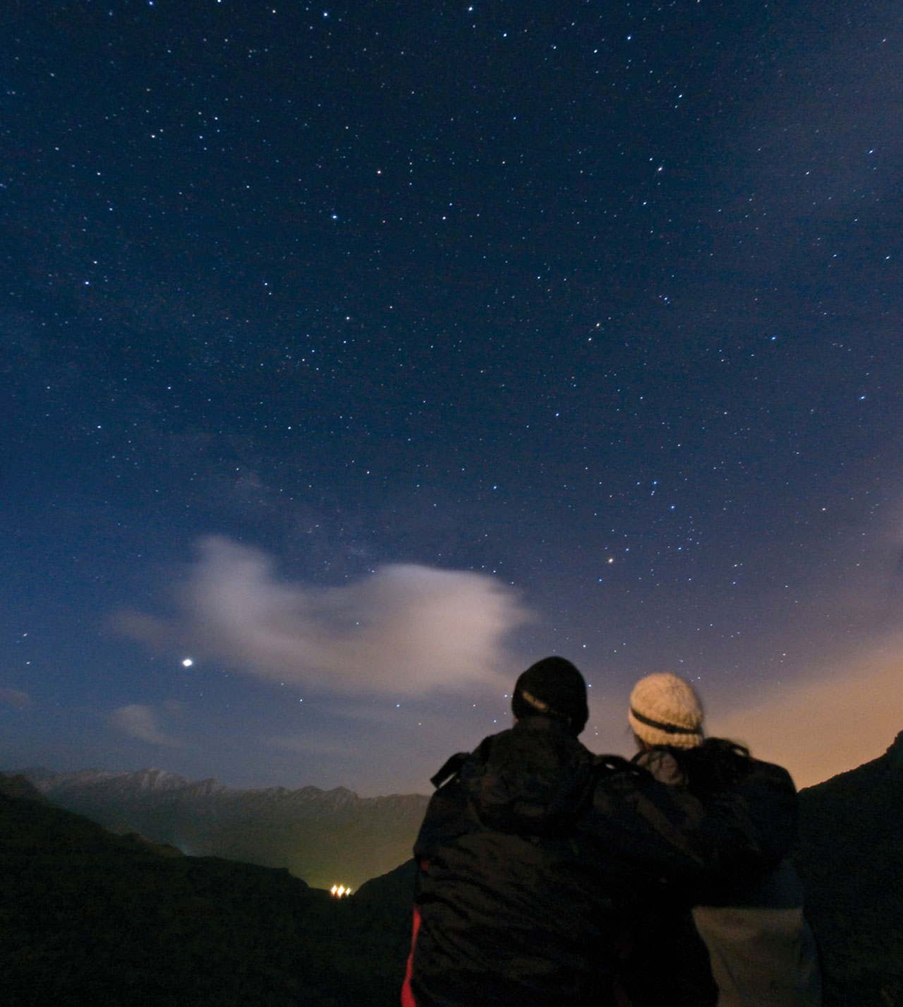 Couple enjoying a starry evening